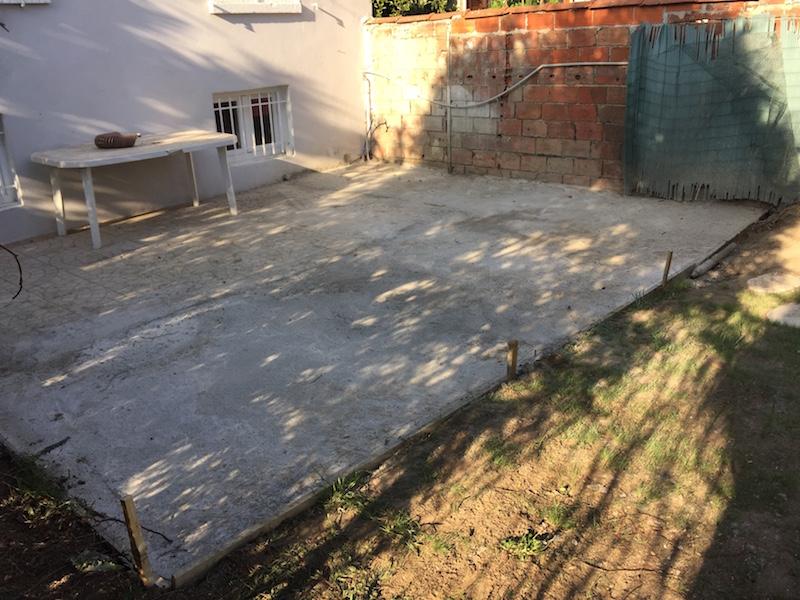 Extension d'une terrasse en béton