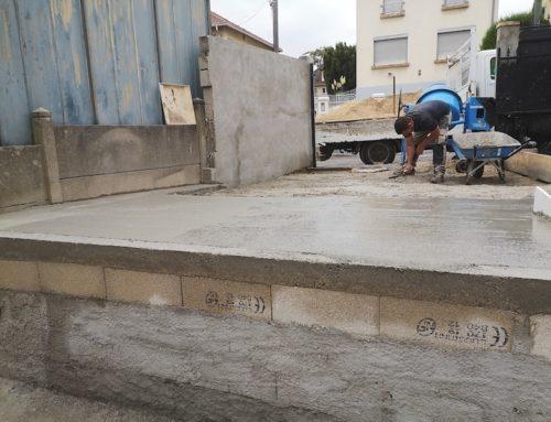 Dalle béton terrasse, création parking et maçonnerie paysagère